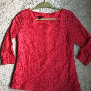 Coral lined lace blouse